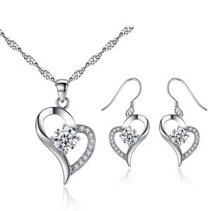 Mimeng Sterling Silver Jewelry Set with Cystal